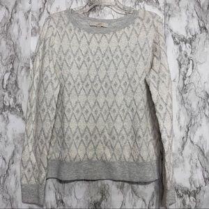 Ann Taylor Loft Soft Gray & White Sweater